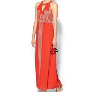 THML Red Orange Embroidered Maxi Dress Size M